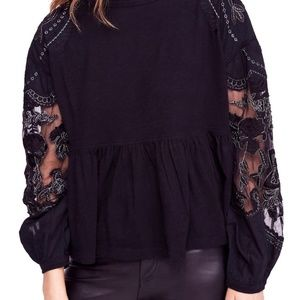 NWT Free People Women's Black Blouse Size: L